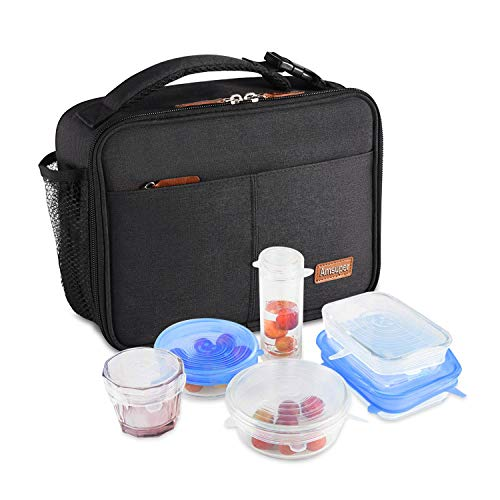 Amsuper Insulated Lunch Bag with FDA Silicone Lids, Durable Lunch Bag Tough & Spacious Adult Lunchbox to Seize Your Day for Travel Office School Lunch Cooler for Girls Boys/Women Men (Black)