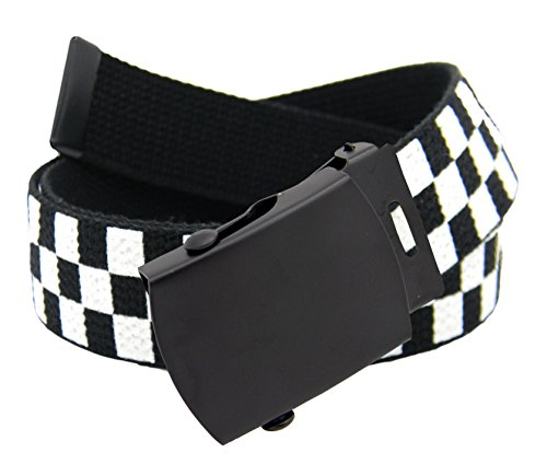 Black Checkered Belt (Men's Black Slider Military Belt Buckle with Canvas Web Belt X-Large)