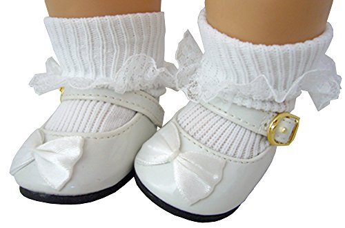 White Patent Mary Jane Shoes with Satin Bows & White Lace Trim Socks For 15