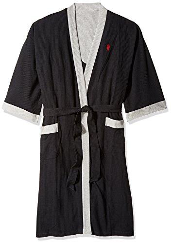 (Jockey Men's Tall Size Waffle-Weave Kimono Robe Black)