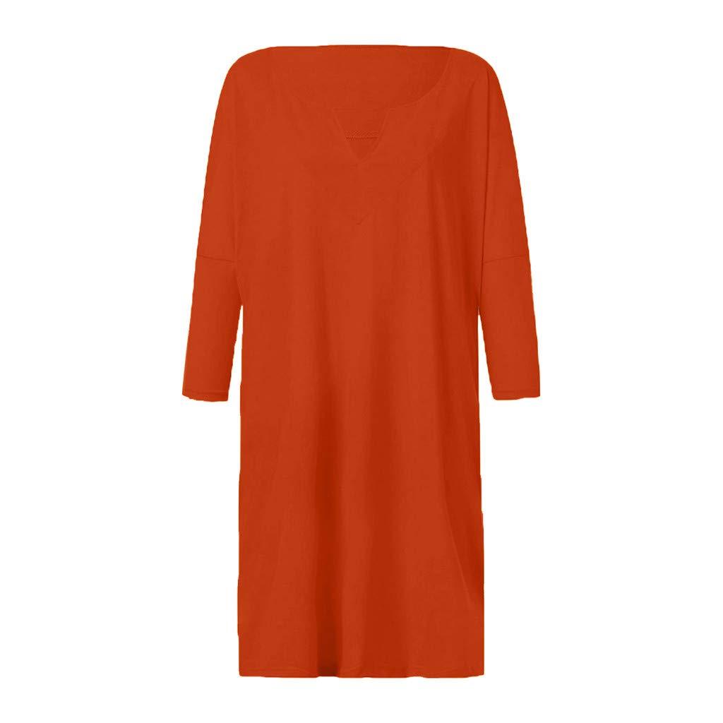 FAPIZI Women Summer Retro Solid Loose Boho Dress Linen Ethnic Shirtdress Casual Loose V-Neck Ladies Dress