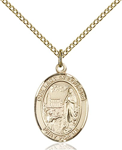 14K Gold Filled Our Lady of Lourdes Medal Pendant, 3/4 Inch