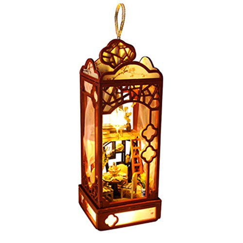 Binory 3D Wooden DIY Miniature Garden Loft Lantern with Furniture LED House,Hand-assembled Villa Model Creative Gifts,DIY Miniature Dollhouse Kit,Dreamy Wooden Dollhouse Kit,Valentine's Day Gift(A)