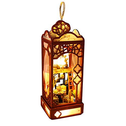 Binory 3D Wooden DIY Miniature Garden Loft Lantern with Furniture LED House,Hand-assembled Villa Model Creative Gifts,DIY Miniature Dollhouse Kit,Dreamy Wooden Dollhouse Kit,Valentine's Day Gift(A)