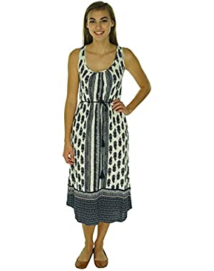 Womens Printed Sleeveless Tank Dress Navy L