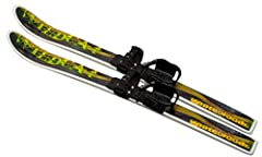 This complete pre-mounted ski set is for ages 4-8. Nylon molded 95cm skis with waxless base. Slightly wider Kinder bindings, (+1cm at heel cup) than Snowman binding, for bigger feet, are easy on & off. No ski boots needed. Use with regula...