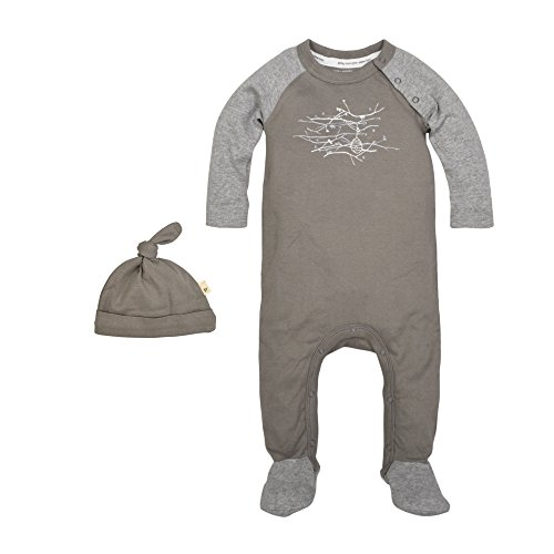 Burt's Bees Baby Baby Organic Footed Coverall and Knot Top Hat, Charcoal, 0-3 Months