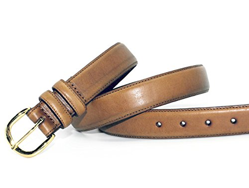 7903-TAN Big & Tall Men's Classic Tan Double Keeper Feather Edge Leather Dress Belt with Gold Tone Buckle (50(fits 48