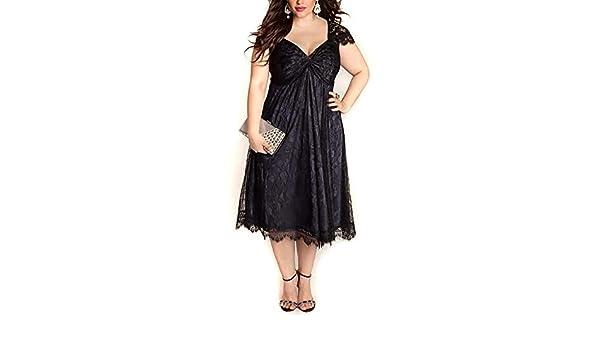 255aceca247 Amazon.com  EbuyChX European and American Large Size Elegant Lace Stitching  V-Neck Gothic Black 5XL  Clothing