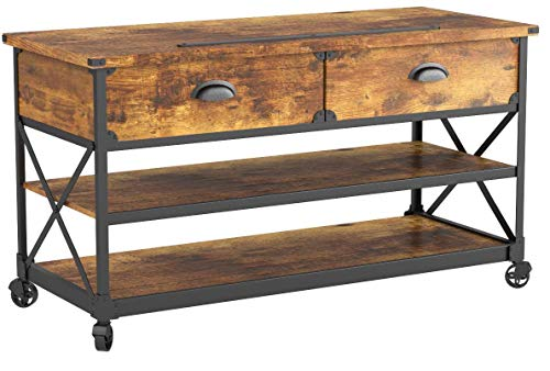 Sturdy Wooden Rustic Country Antiqued Black/Pine Panel TV St