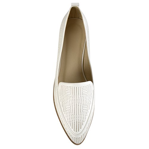Journee Collection Womens Laser Cut Stacked Heel Pointed Toe Loafers White rBR1iKLyK2