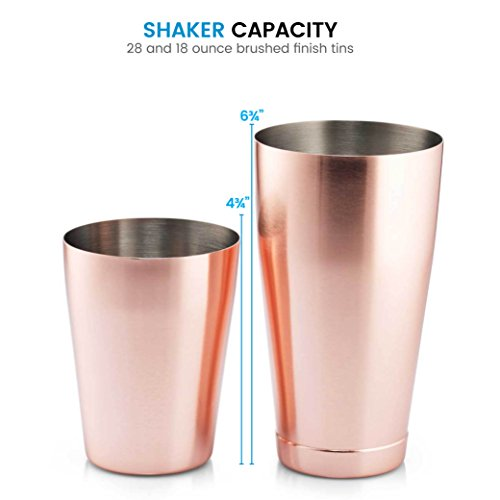 Bartender Boston Cocktail Shaker Set - Copper - Includes 28oz & 18oz Cocktail Shaker 18/8 Durable Food Grade Stainless Steel Bar Shaker Set, Built with Heavy Weighted Shaker Tins For a Perfect Balance by FINEDINE (Image #5)