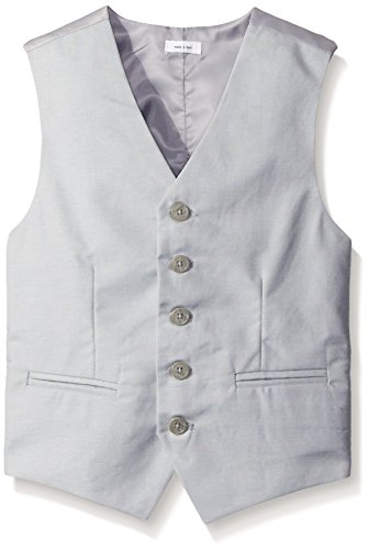 Calvin Klein Linen Suit (Calvin Klein Big Boys' Tri-Blend Linen Vest, Light Grey, Small)