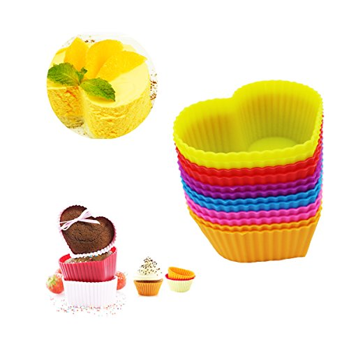 Hippih Silicone Baking Cup Reusable Cupcake Liners,Food Grade Muffin Cups(Heart molds,24 Packs) (Heart Cupcake Pan compare prices)