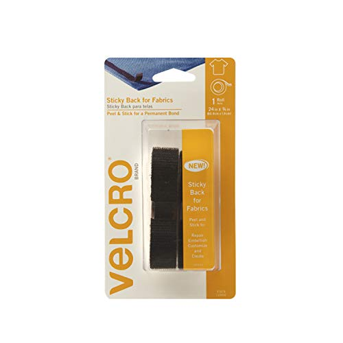 """VELCRO Brand 91878 - Sticky Back for Fabrics: No sewing needed - 24"""" x 3/4"""" Tape - Black"""