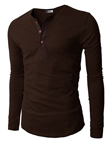 (H2H Mens Henley Casual Slim Fit Long Sleeve T-shirt , Brown, US 2XL (Asia 3XL))