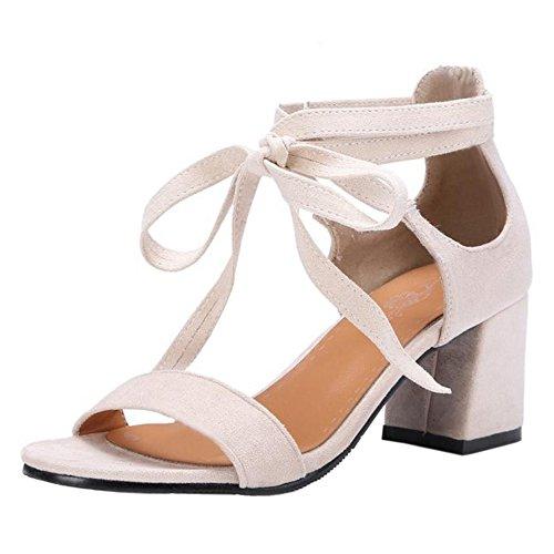 Women Lace Summer TAOFFEN Beige up Sandals axw86Y6qd