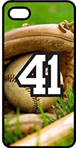 Baseball Sports Fan Player Number 41 Black Rubber Decorative iPhone 6 PLUS Case by ruishername