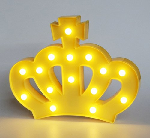 QiaoFei 3D Crown Marquee Sign Light,LED Queen Princess Kings Shaped Sign-Lighted,Wall Decor for Chistmas,Birthday party,Kids Room, Living Room, Wedding Party Decor(Yellow) by QiaoFei
