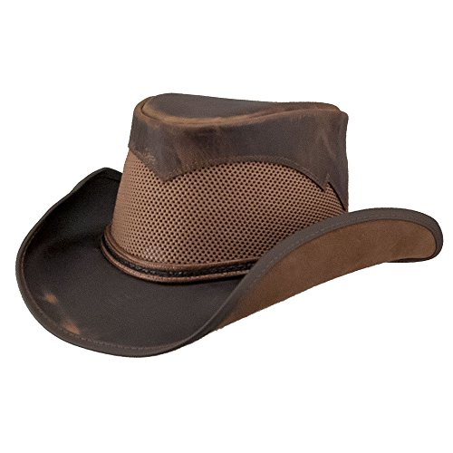 American Hat Makers Durango by Double G Hats Mesh Leather Hat, Chocolate - (Lg Chocolate Leather)