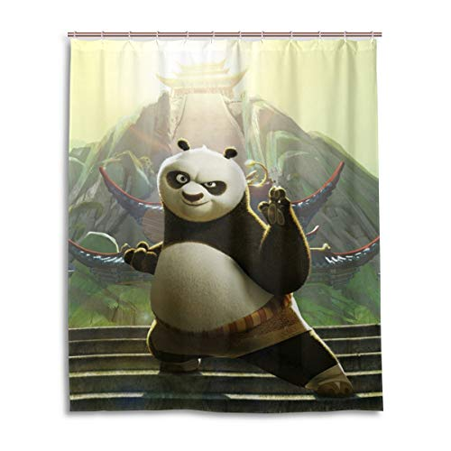 Shower Curtain Kung Fu Panda Cartoon Anime Movie 3D Printing Personality Waterproof Resistant Shower Curtains 12 Hooks 60X72 Inch