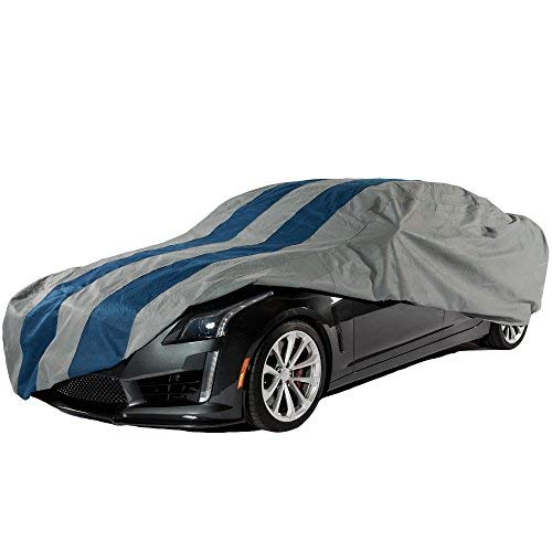 968 Series Porsche (Duck Covers Rally X Defender Grey with Navy Blue Rally Stripes Outdoor Car Cover, 4 Layers, All Weather Protection, 4 Year Limited Warranty, fits Sedans up to 16 ft. 8 in. L)