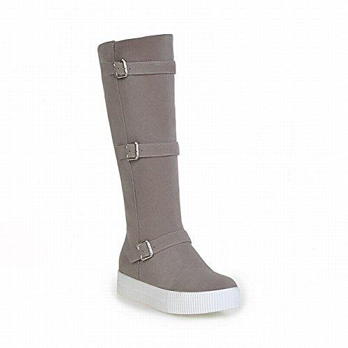 Carolbar Womens Zipper Multi Buckle Comfort Casual Fashion Platform Tall Boots Grey 6qx97f8B