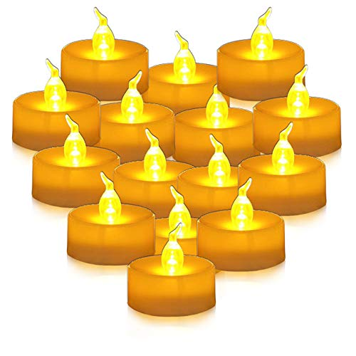 Youngerbaby 24pcs Amber Yellow Battery Operated LED Tea Lights Candles with Timer -Flickering 6 Hours on and 18 Hours Off in 24 Hours Cycle for Outdoor, Indoor Decorations Wedding Party