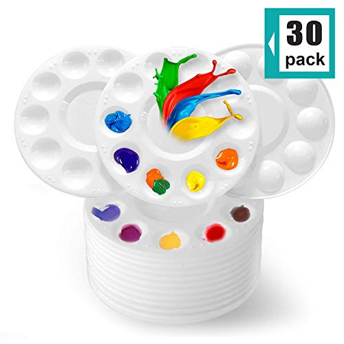 CENTSTAR 30 Pcs Round Paint Tray Palettes Plastic for Acrylic Oil Watercolor Craft DIY Art Painting Palettes, White (30 PCS)
