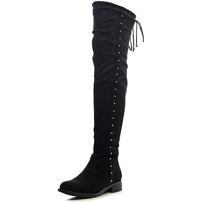 ce60f8c260c613 topschuhe24 1478 Damen Velours Overknee Stiefel Verstellbar Boots ...