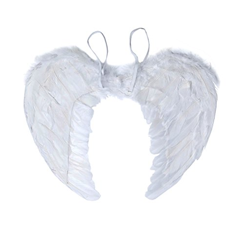 Angel Costumes For Little Girls (Angel Wing Feather Halloween Costume Party, Cosplay Christmas Wings for Kids Children, White Small)
