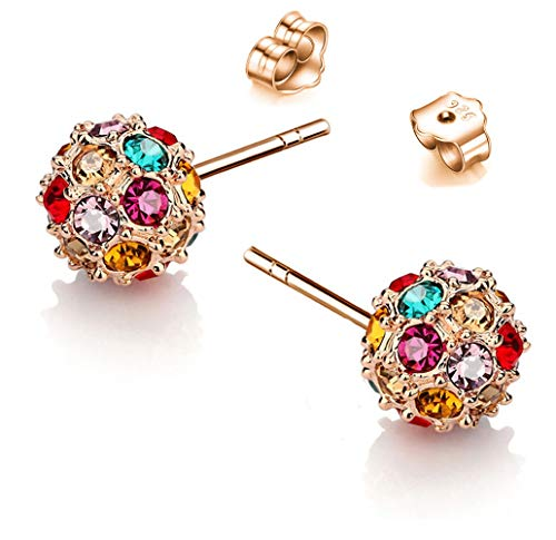 Beautifully Crafted Multicolored Unique Ball Shaped 18k White/rose Gold Plated Swarovski Crystal Zircon Austria Quartz Rhinestone Earrings Pierced Eardrop Stud Bridal Wedding Engagement Jewelry