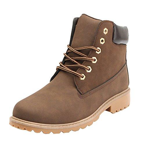 Damenschuhe Combat Boots - hibote Worker Boots Stiefeletten Stiefel Cowboy Stiefel Warm Gefütterte Stiefeletten Gr.36-41 Braun