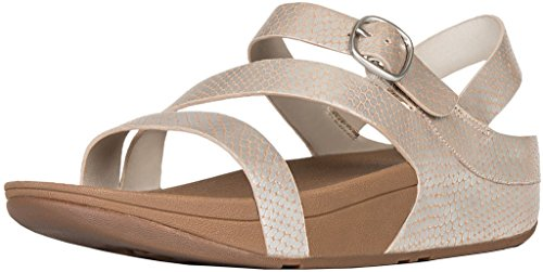 FitFlop Women's The Skinny Z-Cross Sandal Silver Snake (Asymmetrical Leather Sandals)