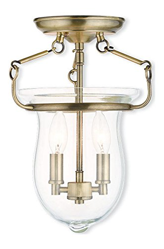 Antique Brass Canterbury 2 Light Semi Flush Ceiling Fixture