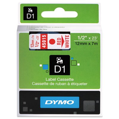 DYMO Standard D1 45015 Labeling Tape (Red Print on White Tape, 1/2'' W x 23' L, 1 Cartridge), DYMO Authentic ()