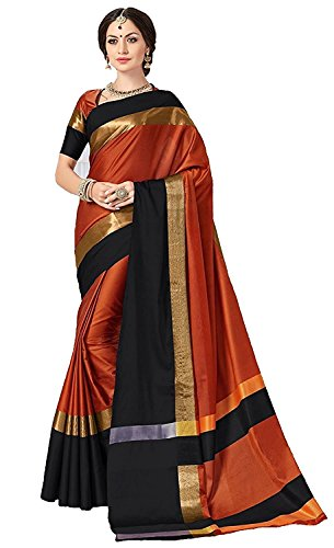 DreamAngel Sari With Blouse Piece Art Silk Saree (Orange-Black)