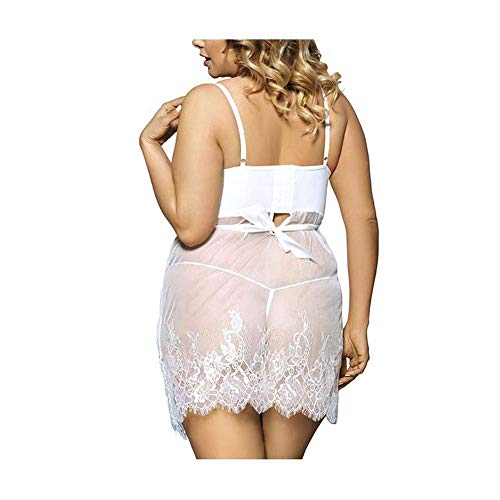 Nightwear Le Di Lingerie Bowknot Negligees Babydoll Strapiombo White Pizzo Donne Nbe Cinturino A UdwqxdCT