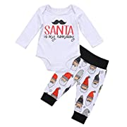Baby Boys Girls Christmas Long Sleeve Romper Bodysuit and Santa Claus Pants Outfit (0-3M, White)