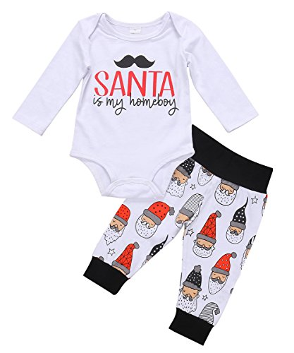 Santa Outfit For Baby (Baby Boys Girls Christmas Long Sleeve Romper Bodysuit and Santa Claus Pants Outfit (0-3M, White))