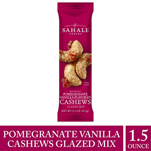 Sahale Snacks Pomegranate Vanilla Flavored Cashews Glazed Mix, 1.5 oz. - Resealable Pouch, Nut Snacks with No Artificial Flavors, Preservatives or Colors, Gluten-Free Snacks