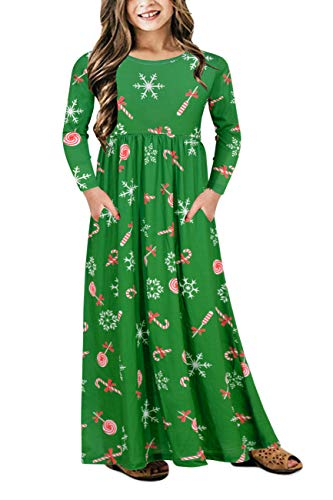 Gorlya Girl's Long Sleeve Floral Print Loose Casual Holiday Long Maxi Dress with Pockets 4-12 Years (11-12Years/Height:150cm, Green Print) -