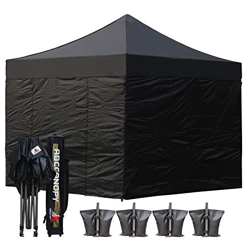 (18+ colors)AbcCanopy Commercial 10×10 Ez Pop up Canopy, Party Tent, Fair Gazebo with 6 Zipped End Sidewalls and Roller Bag Bonus 4x Weight Bag (Black) Review