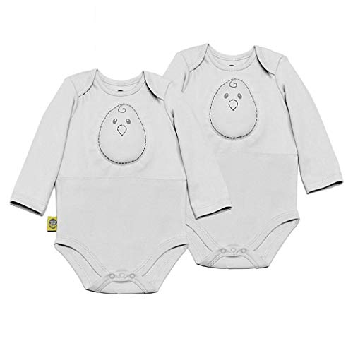 Nested Bean Zen Bodysuit Sleeper Classic - Gently Weighted, Long Sleeved, 100% Cotton (6-12 Months, Grey Mist) (2 Pack)