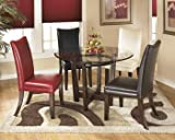 Ashley Furniture Signature Design - Charrell Dining Room Table - Glass Top - Round - Medium Brown