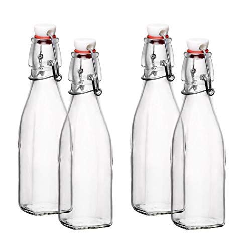 Seacoast Clear Glass Bottle with Swing Top Stopper, 33.75 Oz Square Pack of 4