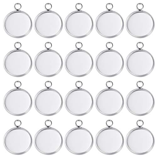 PP OPOUNT 70Pieces Pendant Trays Fit 12mm Stainless Steel Round Blank Bezel Pendant Trays Blanks Trays Pendant for Jewelry Making and DIY Craft