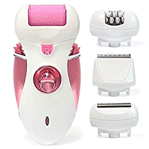 Vizbrite Electric Epilator 4 in 1 Stainless Hair Removal Tool & 2 Speeds Cordless Rechargeable for Women.