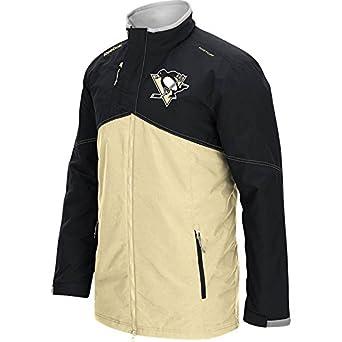 38233c27e Reebok Men s NHL Pittsburgh Penguins Center Ice Fill Zip Jacket Black Gold Size  Large