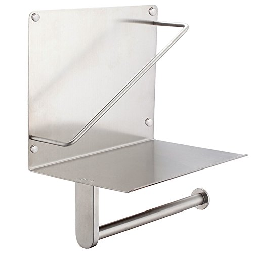 Double Toilet Paper Holder with Magazine Rack, Angle Simple SUS304 Stainless Steel Magazine and Tissue Holder with Phone Wet Wipe Shelf Tissue Roll Hanger with Book Magazine Holder Brushed Nickel (Magazine Bathroom Rack Wall)